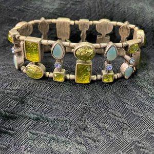 lia sophia Green/Blue/Pewter Stretch Bracelet
